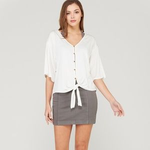Tops - Bamboo button down front tie top-Ivory